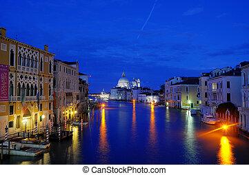 kanal, vacker, venedig italien, (hdr), venedig, lyse, natt