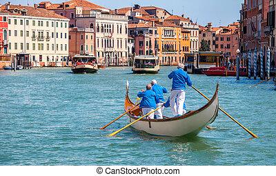 kanal, venedig italien, gondel, großartig, gondelführer