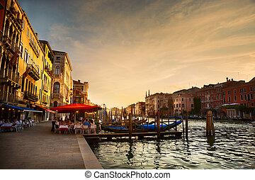 kanal, venedig italien, nach, -, großartig, sonnenuntergang