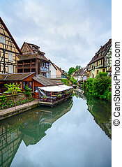 kanal, wasser, venedig, petit, houses., elsaß, traditionelle...