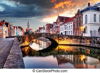 kanalen, ondergaande zon , belgie, brugge