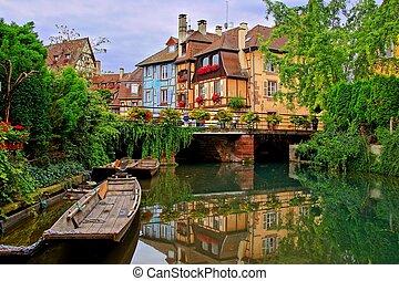 kanalen, weerspiegelingen, stad, frankrijk, tranquil, elzas, mooi, colmar