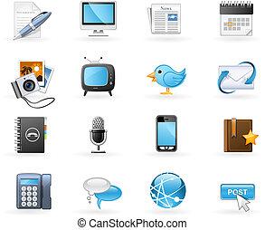 kanaler, kommunikation, sæt, ikon