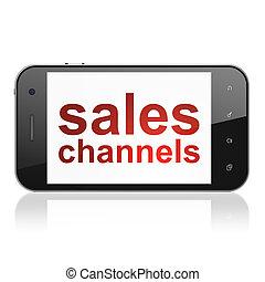 kanaler, markedsføring, smartphone, afsætningen, concept:
