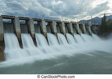 kananaskis, fördämning, w7, elektrisk, vattenkuranstalt