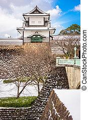 kanazawa, castelo, japão