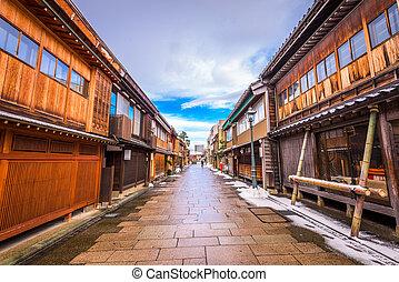 kanazawa, historisk, område, japan