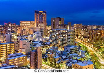 kanazawa, japão, skyline