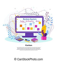 kanban, 電腦系統, screen., 項目管理