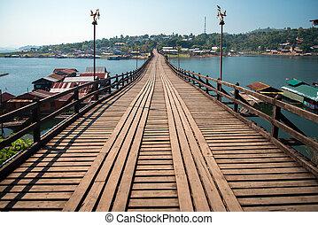 kanchanaburi, bridzs, sangklaburi, hétfő, thaiföld