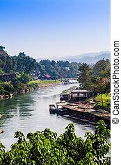 kanchanaburi, kwai, folyó, thailand., táj