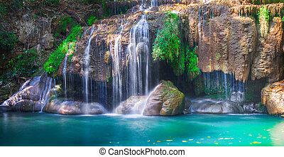 kanchanaburi, tailandia, erawan, cascata