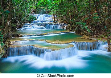 kanchanaburi, thaiföld, vízesés, erdő, mély