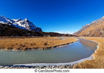 Kanchenjunga region - Scenic view of mountains, Kanchenjunga...