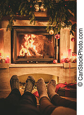 kandalló, család, zokni