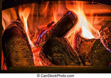 kandalló, firewoods, öreg, égető