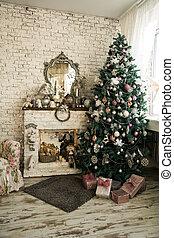 kandalló, karosszék, fa, karácsony