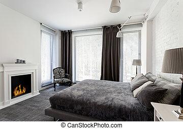 kandalló, szürke, ágy, hálószoba