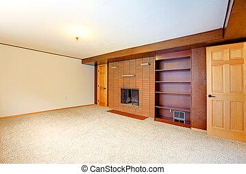 kandalló, szoba, üres