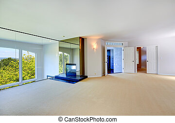 kandalló, szoba, pohár, üres, fényes, fal