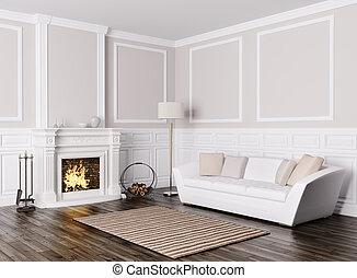 kandalló, szoba, render, belső, eleven, 3, klasszikus, pamlag