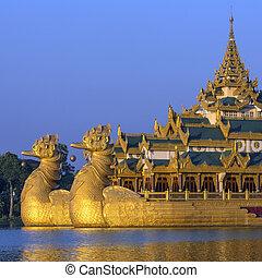 kandawgyi, myanmar, -, lago, karaweik, yangon