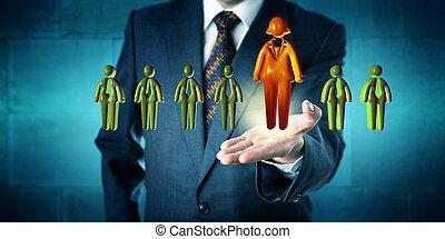 kandidaat, hr, directeur, alleen, het bevorderen, vrouwlijk