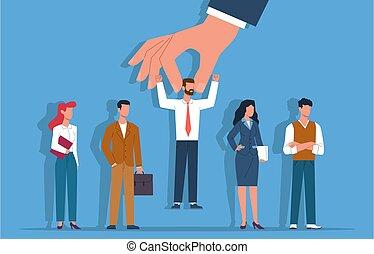 kandidaat, verhuring, plat, carrière, geselecteerde, groep, persoon, recruitment., mensen, concept, vector, werkgevers, keuze, middelen, proces, toekomst, hand, zakelijk, kies, kiezen, werkmannen , menselijk