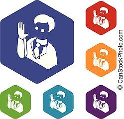 kandidat, heiligenbilder, hexahedron, vektor, wahl, eid