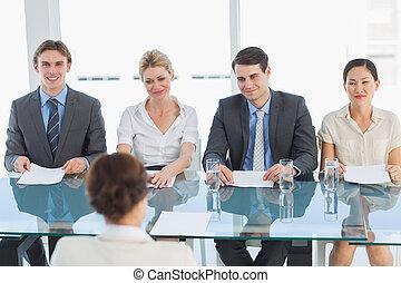 kandidat, kontroll, recruiters, arbete samtalen, under