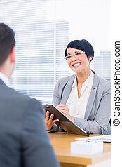 kandidat, kontroll, rekryterare, arbete samtalen, under
