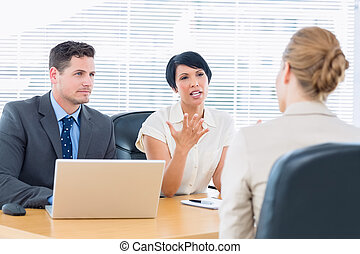 kandidat, prüfung, werbeoffiziere, bewerbungsgespräch, während
