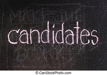 kandidaten, geschreven, op, bord