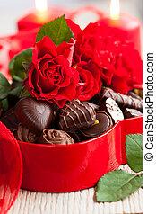 kandyz, róże, czekolada, dzień, valentine