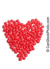 kandyz, serce, robiony, czerwony