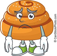 Kanelbulle mascot design style with worried face