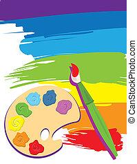 kanfas, målarpensel, palett