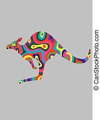Kangaroo abstract color, art vector illustration