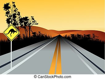 Illustration of Australian straight road with kangaroos ahead road sign, red hills and sunset sky in background