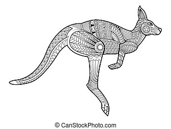 Hand drawing zentangle kangaroo for coloring page, shirt design effect, logo, tattoo and decoration. Animal made in vector.