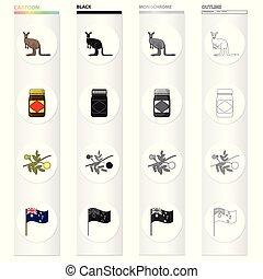 Kangaroo, apple sauce chutney, Australian acacia,wattle, national flag. Australia set collection icons in cartoon black monochrome outline style vector symbol stock illustration web.