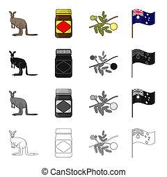 Kangaroo, apple sauce chutney, Australian acacia,wattle, national flag. Australia set collection icons in cartoon black monochrome outline style bitmap,raster symbol stock illustration web.