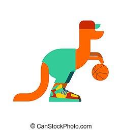 Kangaroo basketball player and ball. Australia animal in sneakers sportsman. Vector illustration.