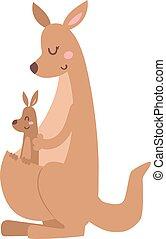 Kangaroo cartoon australia animal with baby flat vector illustration