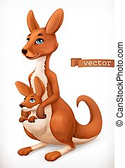Kangaroo cartoon character. Funny animal, 3d vector icon