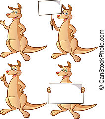 Kangaroo cartoon - Cute kangaroo holding board, placard, ...