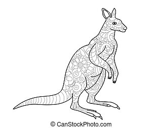 Kangaroo Coloring Book For Adults Vector Illustration