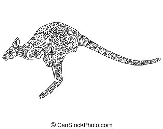 Kangaroo coloring vector for adults