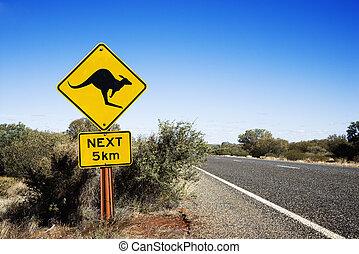 Kangaroo crossing Australia - Kangaroo crossing sign by road...