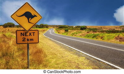 Kangaroo crossing sign - Warning sign for kangaroo crossing...